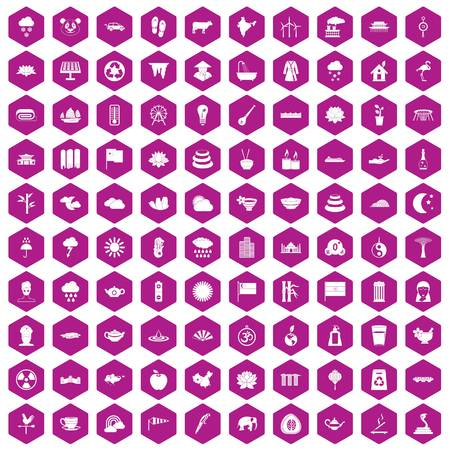 100 lotus icons set in violet hexagon isolated vector illustration