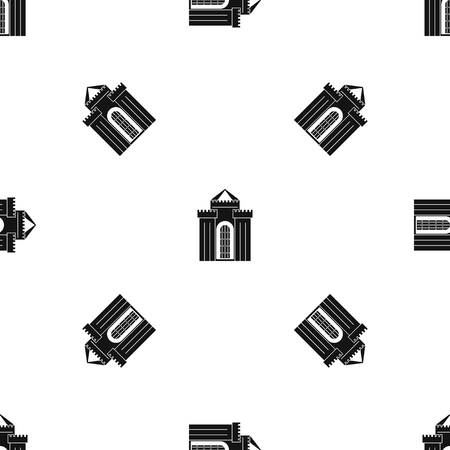 citadel: Medieval palace pattern repeat seamless in black color for any design. Vector geometric illustration Illustration