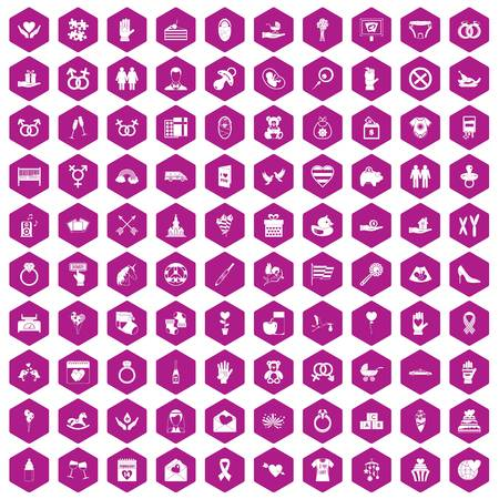 100 love icons set in violet hexagon isolated vector illustration