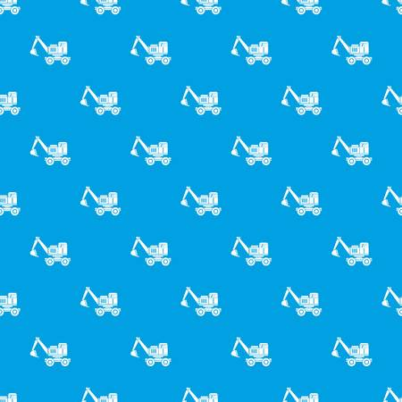 heavy: Excavator pattern repeat seamless in blue color for any design. Vector geometric illustration