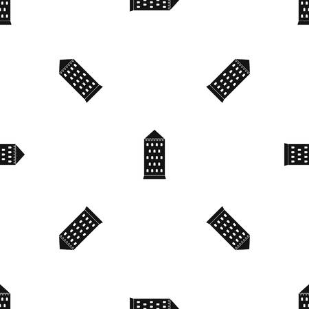 citadel: Ancient building pattern repeat seamless in black color for any design. Vector geometric illustration