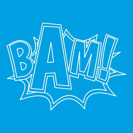 BAM, explosion effect icon blue outline style isolated vector illustration. Thin line sign Illustration