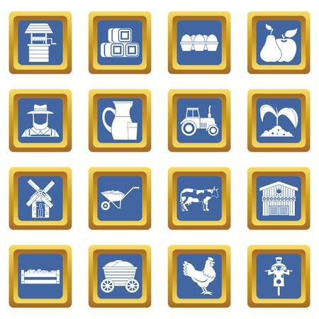 Farm icons set in blue color isolated vector illustration for web and any design Illustration