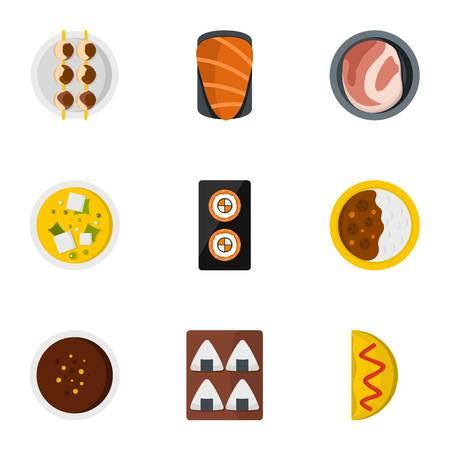 Delicious japanese food icons set. Flat set of 9 delicious japanese food vector icons for web isolated on white background