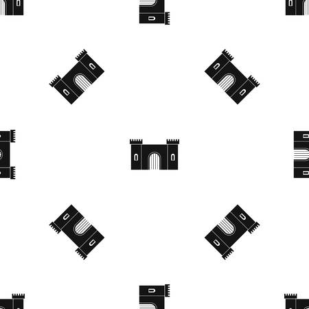 citadel: Fortress with gate pattern repeat seamless in black color for any design. Vector geometric illustration