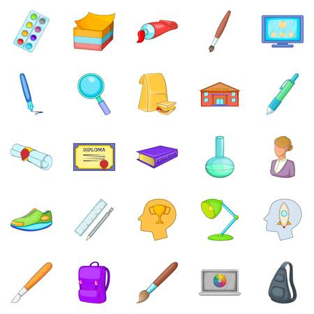 Schoolbook icons set. Cartoon set of 25 schoolbook vector icons for web isolated on white background