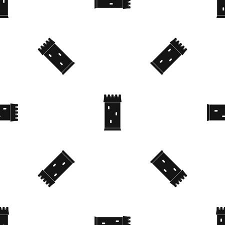 citadel: Fortress tower pattern repeat seamless in black color for any design. Vector geometric illustration