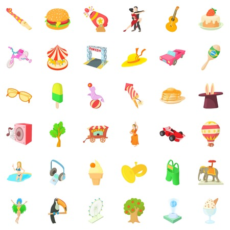 ice: Amusement park icons set. Cartoon style of 36 amusement park vector icons for web isolated on white background