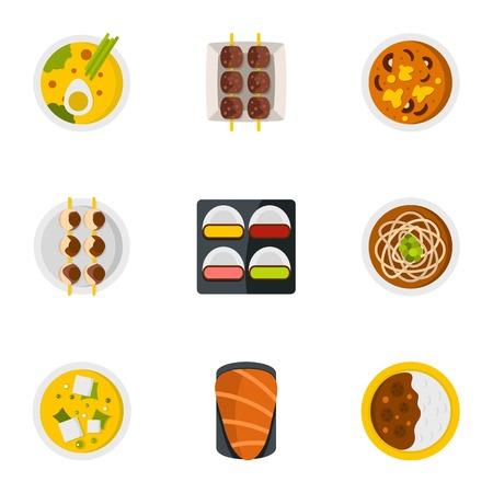 Sushi menu icons set. Flat set of 9 sushi menu vector icons for web isolated on white background