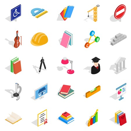 Board icons set. Isometric set of 25 board vector icons for web isolated on white background