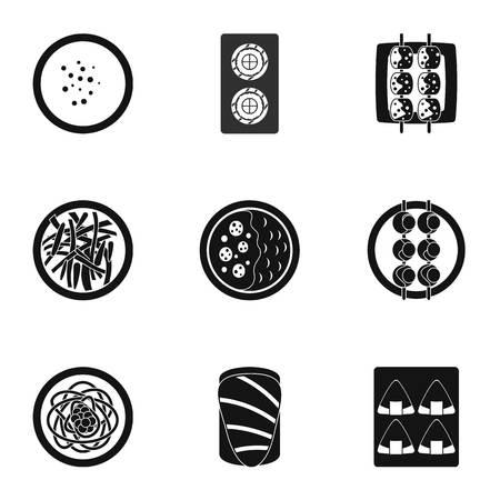 Sushi menu icons set. Simple set of 9 sushi menu vector icons for web isolated on white background