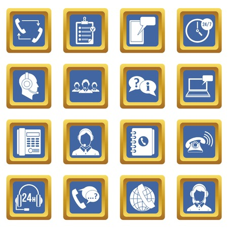 mobile app: Call center symbols icons set in blue color isolated vector illustration for web and any design