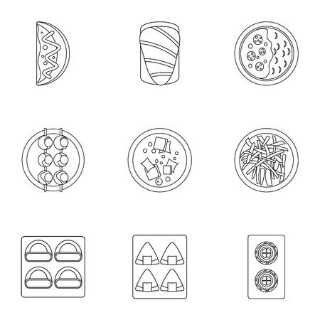 Sushi menu icons set. Outline set of 9 sushi menu vector icons for web isolated on white background Illustration