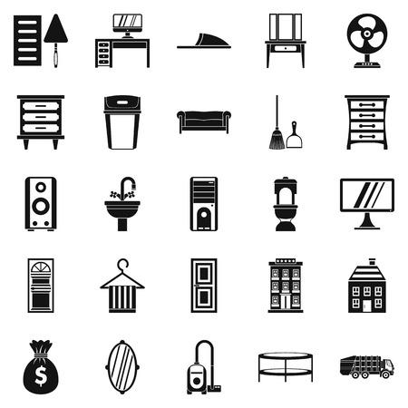 Meubilair pictogrammen instellen. Eenvoudige reeks van 25 meubilair vectorpictogrammen voor Web dat op witte achtergrond wordt geïsoleerd