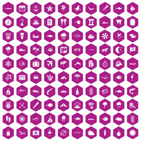 100 marine environment icons set in violet hexagon isolated vector illustration
