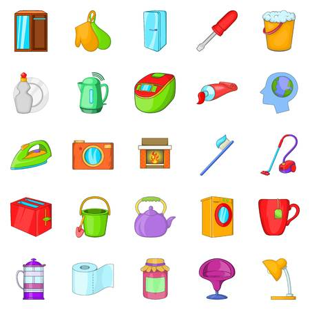 Kitchen cleaning icons set. Cartoon set of 25 kitchen cleaning vector icons for web isolated on white background Illustration