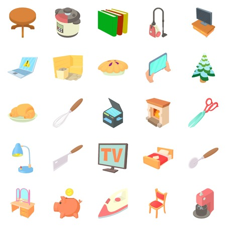 modern living room: Amenity icons set. Cartoon set of 25 amenity vector icons for web isolated on white background