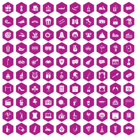poppers: 100 mask icons set in violet hexagon isolated vector illustration