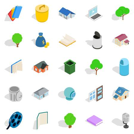 modern living room: Great house icons set. Isometric set of 25 great house vector icons for web isolated on white background