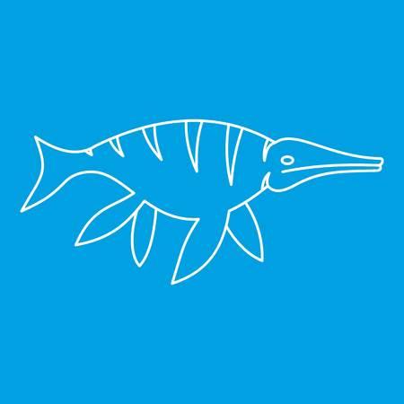 Ichthyosaur dinosaur icon blue outline style isolated vector illustration. Thin line sign Illusztráció