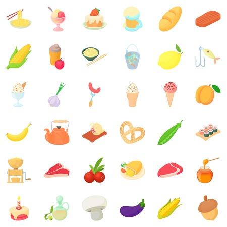 Good breakfast icons set, cartoon style