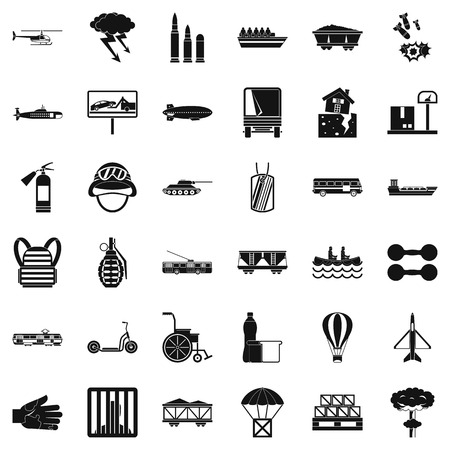 Weight icons set, simple style