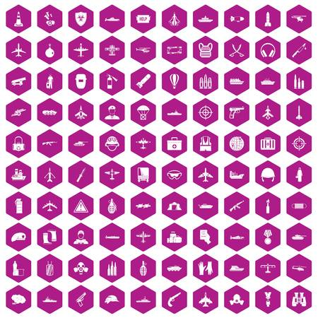 100 military resources icons hexagon violet