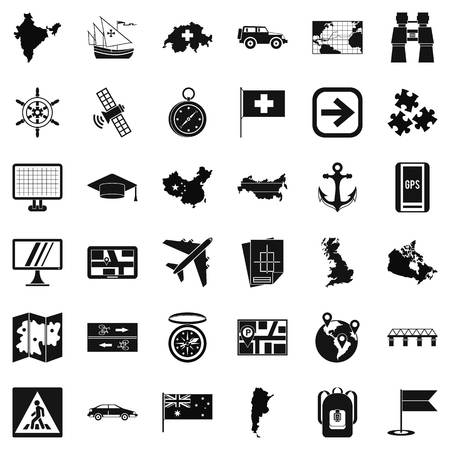 ship anchor: Mark cartography icons set. Simple style of 36 mark cartography vector icons for web isolated on white background Illustration