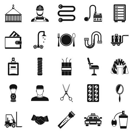 Production icons set, simple style Illustration