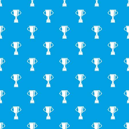 superstar: Cup for win pattern repeat seamless in blue color for any design. Vector geometric illustration