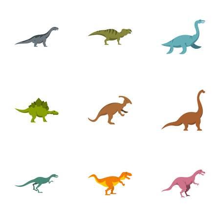 Figures dinosaur icons set, flat style