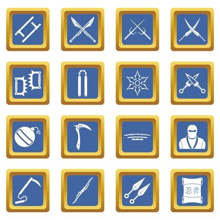 ninja tool: Ninja tools icons set blue