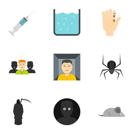 Various phobias icon set, flat style