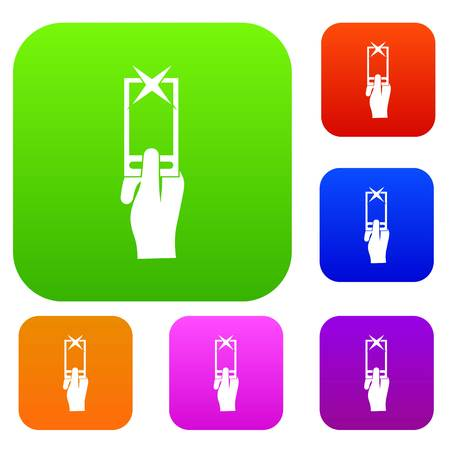 reviews: Hand photographs on smartphone set icon in different colors isolated vector illustration. Premium collection