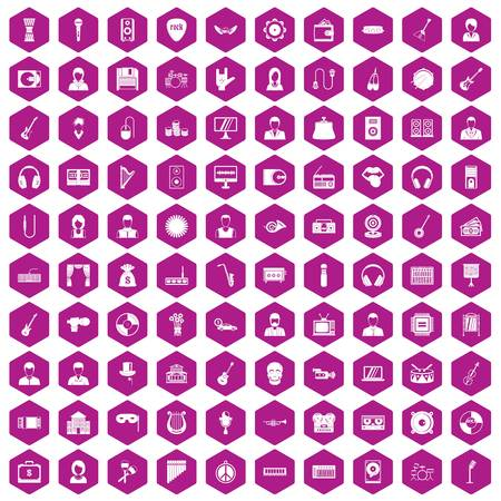 tenor: 100 music icons set in violet hexagon isolated vector illustration
