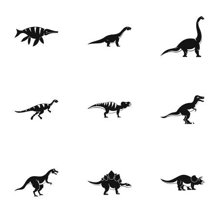Figures dinosaur icons set. Simple set of 9 figures dinosaur vector icons for web isolated on white background Illustration
