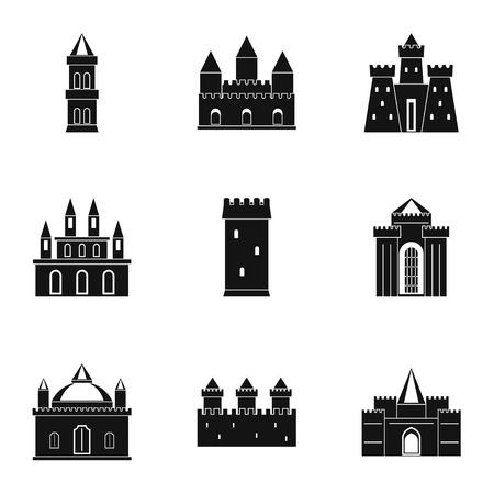 城と塔のアイコンを設定します。Web は、白い背景で隔離の 9 城と塔ベクトル アイコンのシンプルなスタイル セット