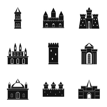 Castles and towers icon set. Simple style set of 9 castles and towers vector icons for web isolated on white background