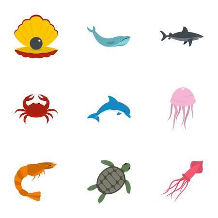 Water wildlife icons set, flat style