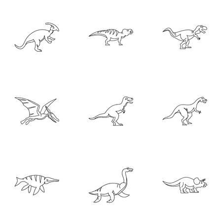 deinonychus: Figures dinosaur icons set. Outline set of 9 figures dinosaur vector icons for web isolated on white background Illustration