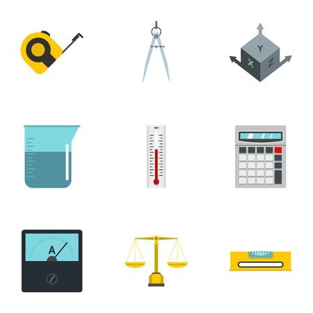 Measure instrumentation icon set, flat style