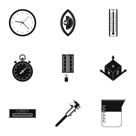 Measuring icon set. Simple style set of 9 measuring vector icons for web isolated on white background