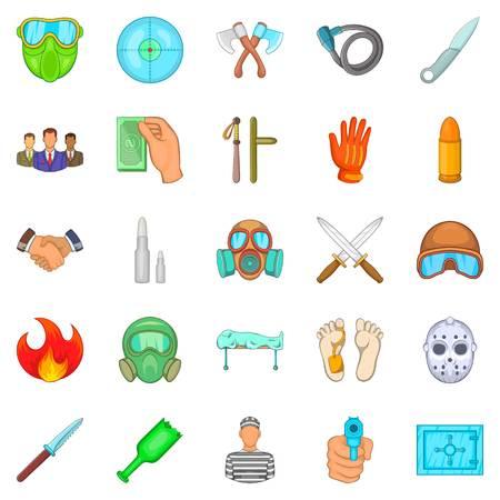 delincuencia: Conjunto de iconos mal hechos. Conjunto de dibujos animados de 25 malvados iconos de vectores para web aisladas sobre fondo blanco