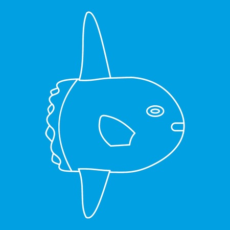 Fish icon blue outline style isolated vector illustration. Thin line sign