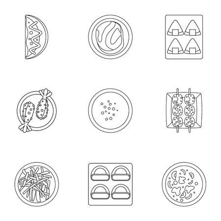 Sushi bar icons set. Outline set of 9 sushi bar vector icons for web isolated on white background Illustration