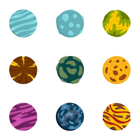 Galaxy planet icons set. Flat set of 9 galaxy planet vector icons for web isolated on white background Illustration