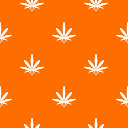 Cannabis leaf pattern repeat seamless in orange color for any design. Vector geometric illustration Illustration