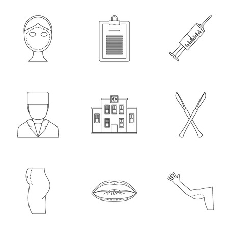 Plastic correction icon set. Outline style set of 9 plastic correction vector icons for web isolated on white background