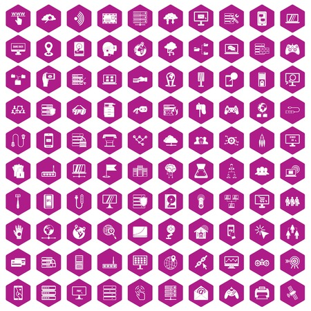 business team: 100 network icons set in violet hexagon isolated vector illustration