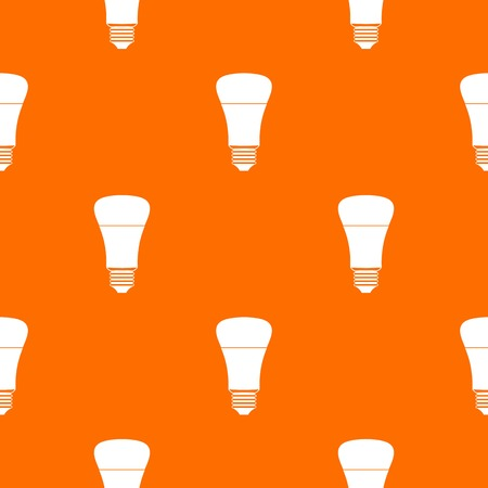 Led bulb pattern repeat seamless in orange color for any design. Vector geometric illustration
